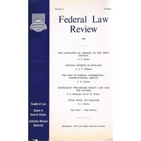 Federal Law Review. Volume 3. June 1968. Number 1